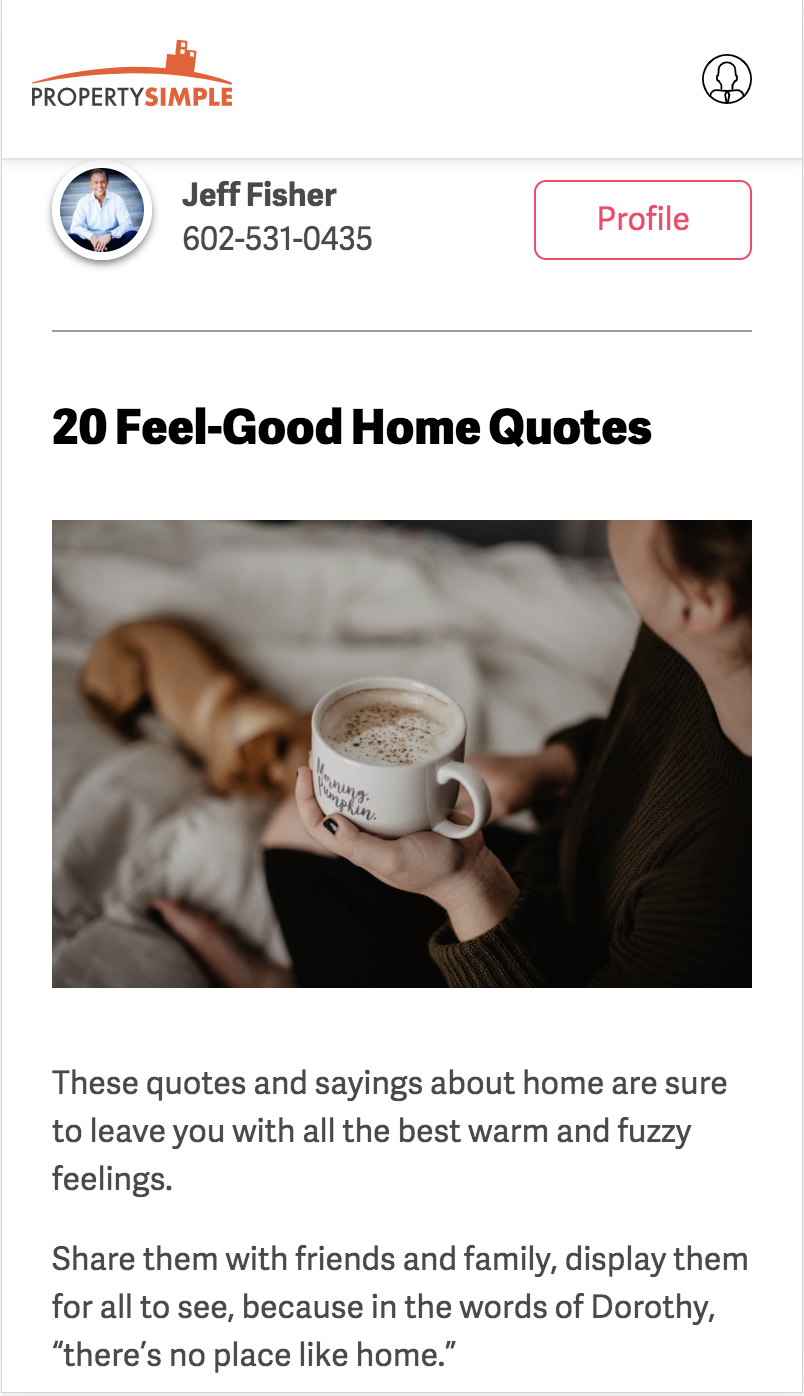 Article example: 20 Feel-Good Home Quotes